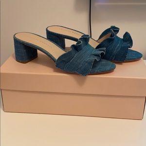 Loeffler Randal Vera Woven Ruffle Slide Sandals